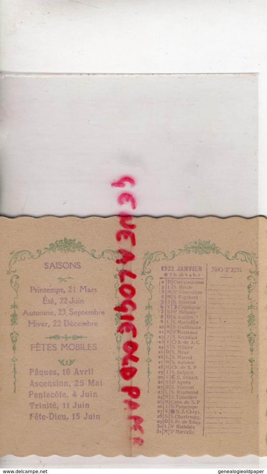 86- POITIERS-PETIT CALENDRIER 1922- DROGUERIE DU PALAIS-MAISON GAROTIN-BRIET-12 PLACE DU PALAIS- CAGE A OISEAUX-VOLIERE - Kalenders