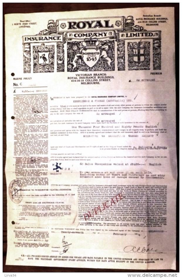 LOT 5 DOCUMENTS AUSTRALIE- MELBOURNE-ROYAL INSURANCE COMPANY DUPLICATA FRET PEAUX DE MOUTONS- 1934- 5 SCANS - Australie