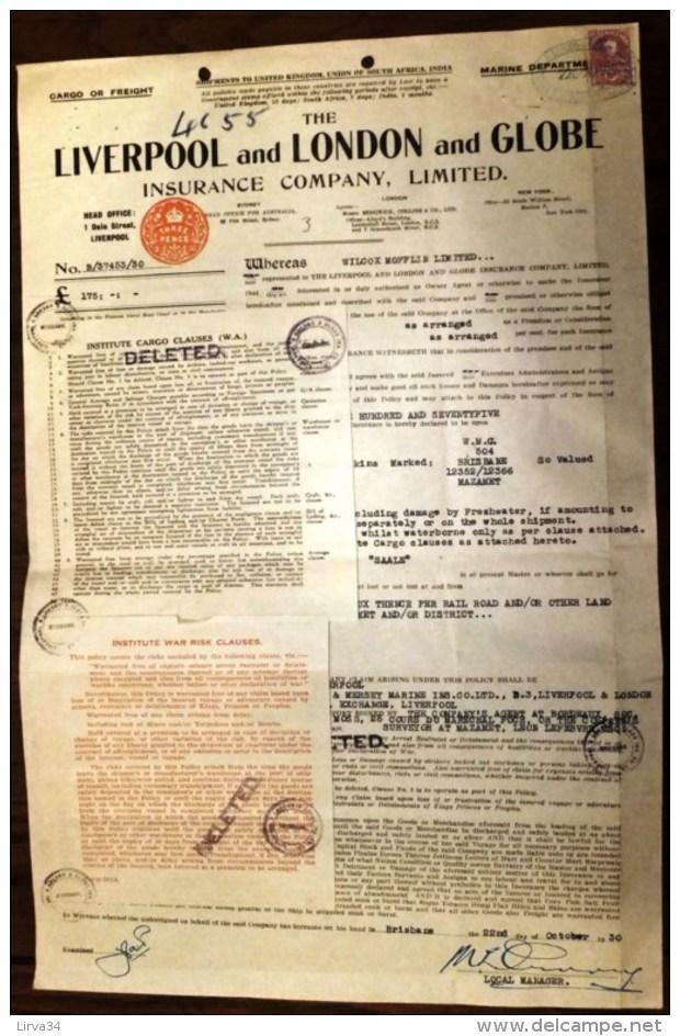 DOCUMENT AUSTRALIE : BRISBANE- LIVERPOOL AND LONDON AND GLOBE AVEC TIMBRE 1934- FRET PEAUX DE MOUTONS- 4 SCANS - Australie