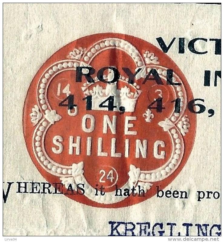 DOCUMENT AUSTRALIE : MELBOURNE-ROYAL INSURANCE COMPANY AVEC TIMBRE 1924- FRET PEAUX DE MOUTONS- 3 SCANS - Australie