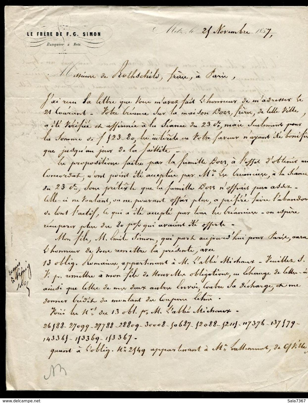 Lettre Sans Timbre De Novembre 1857 De METZ à Destination De Paris (De Rothschild Frères) - Storia Postale