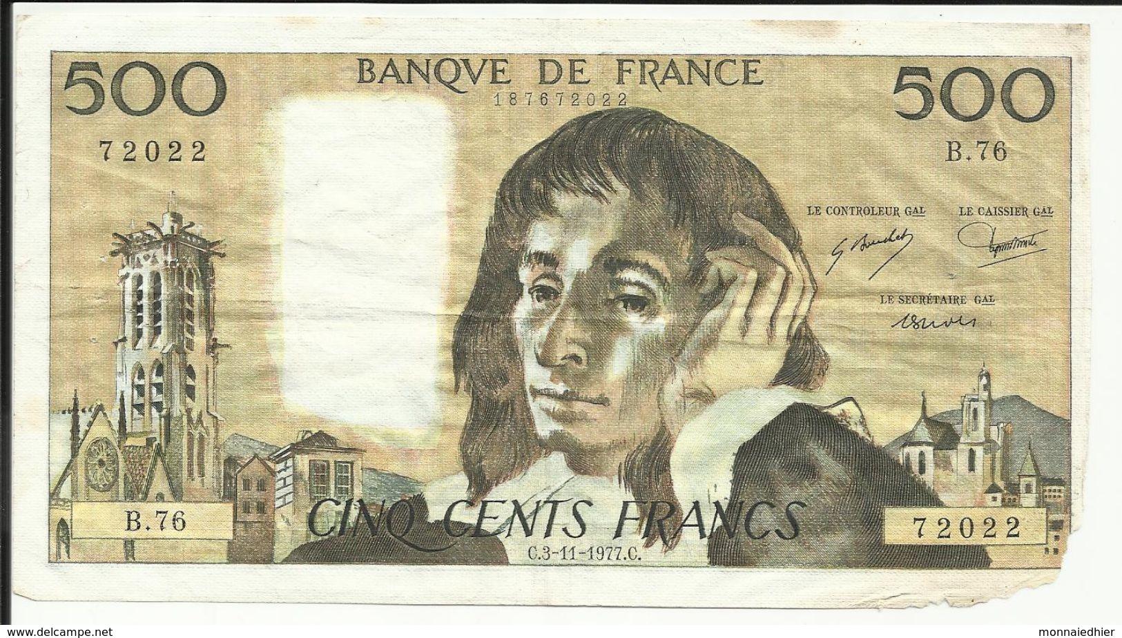 500 Frs , PASCAL , 3.11.1977  , N°C.Fayette : 71.17 - 1962-1997 ''Francs''
