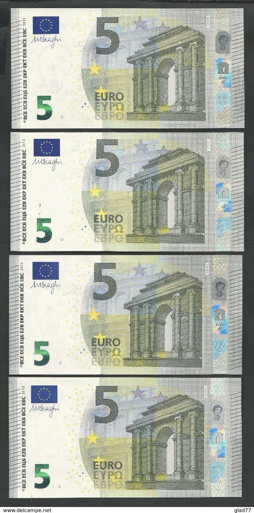 """Greece: Lot 4 Pieces 5  EURO GEM UNC! Draghi Signature! """"Y"""" 4 Existing  Printers Y001, Y002, Y003, Y004 !! - EURO"""