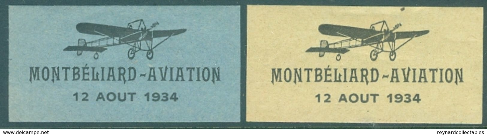 1934 France Montbeliard-Aviation 12 Aout Labels Mint(2 Off) - Airmail