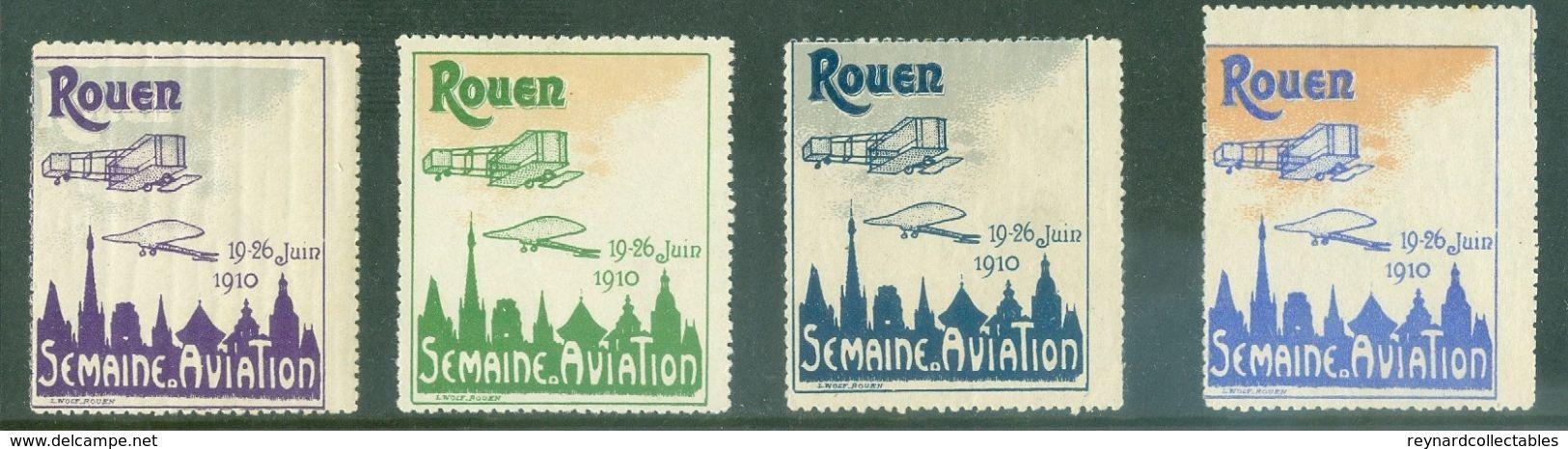 1910 France Rouen Semaine D'Aviation Vignette Labels (4) Unused Different Colours - Airmail