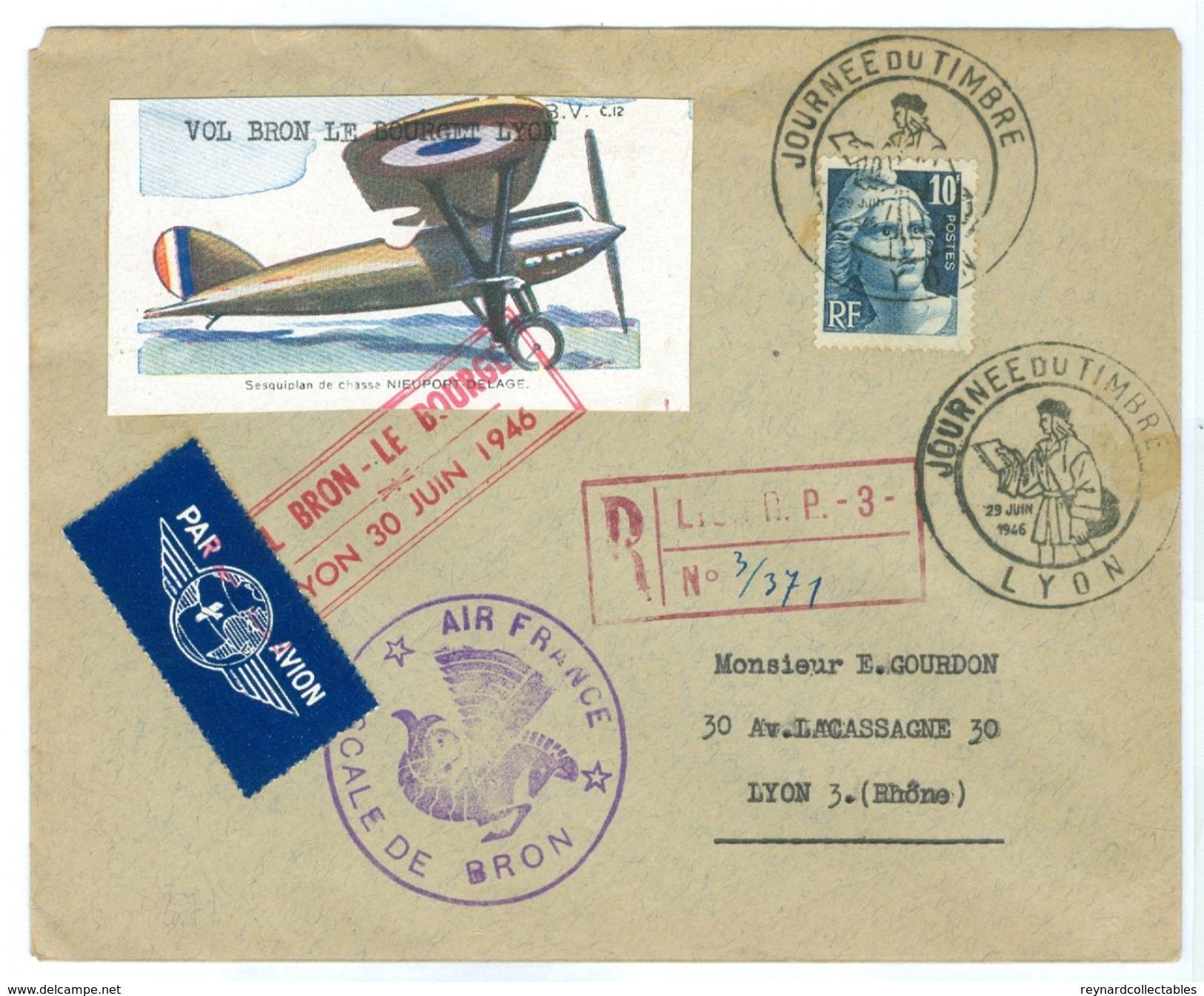 1946 France Lyon Registered Cover & Vignettes Air France & Vol Bron-Le Bourget Cachets, Journee Du Timbre - Airmail