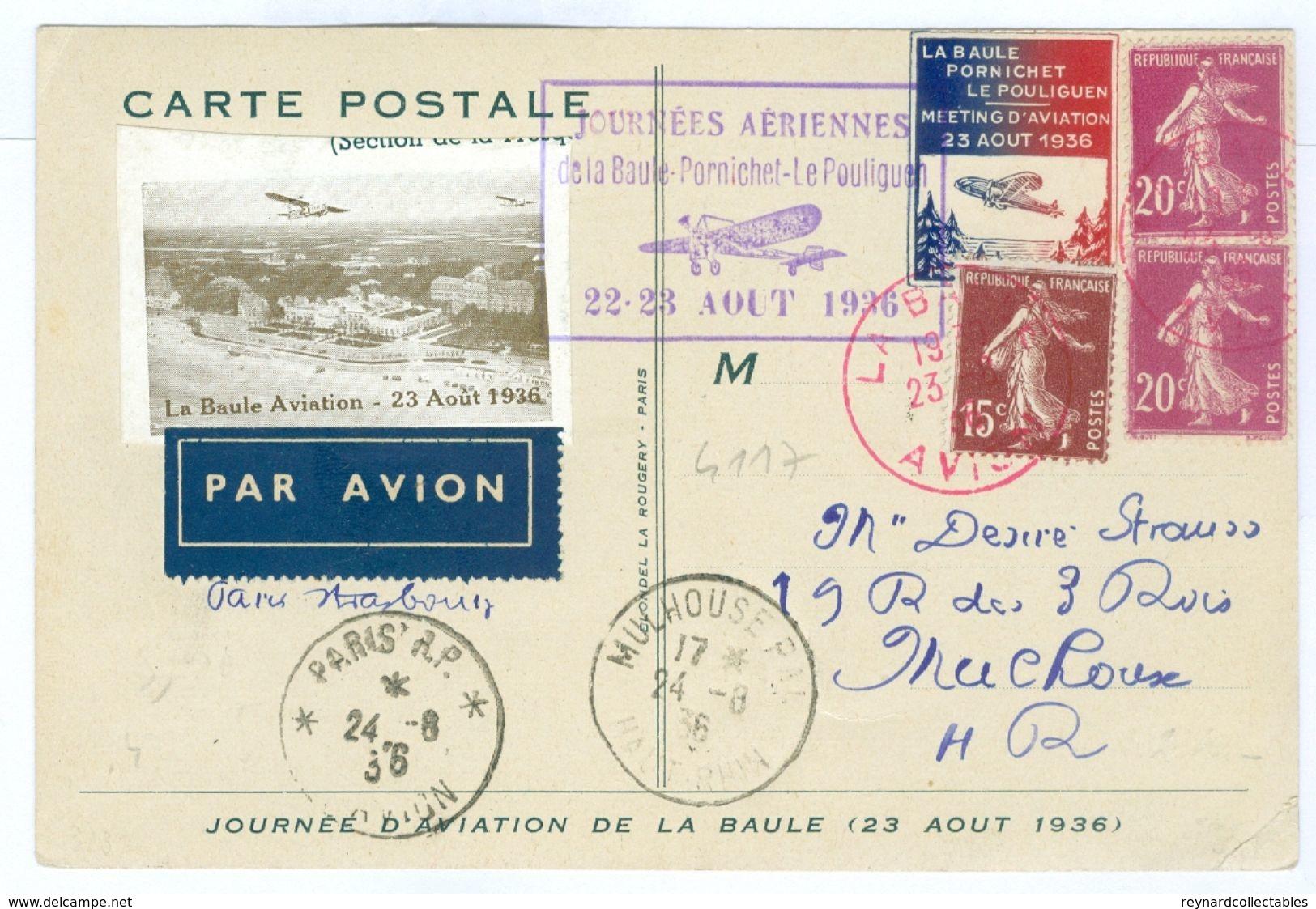 1936 France Aero Club De Atlantique Card, La Baule-Pornichet-Le Pouliguen With Vignettes/postmarks - Airmail