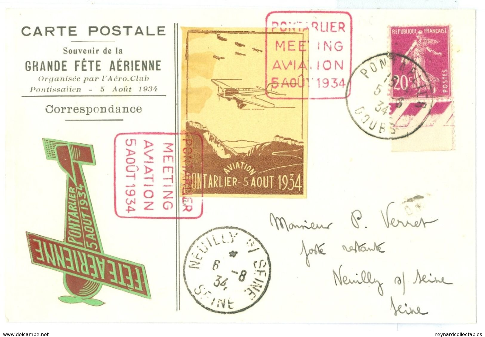 1934 France Grande Fete Aerienne Pontarlier Airplane Picture Pc With Plane Vignette++ - Airmail