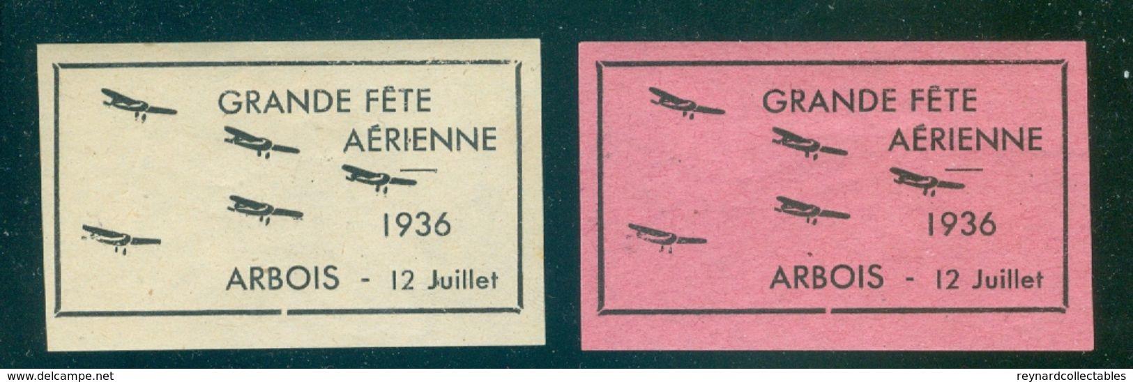 1936 France Arbois Grande Fete Aerienne Labels (2 Off) - Airmail