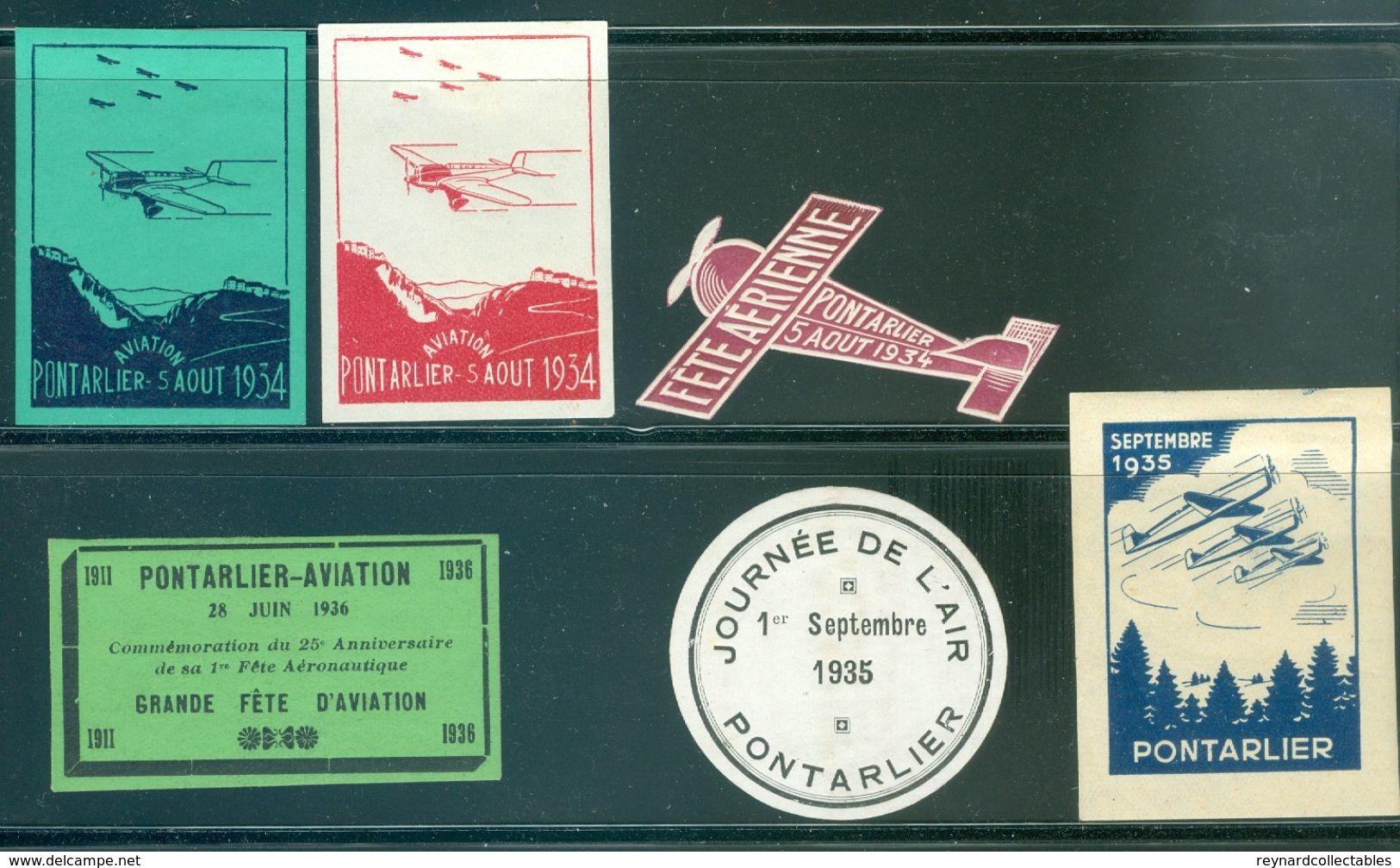 1934-36 France Pontarlier Fete Aviation Vignettes/labels (6 Off) Inc.airplane - Airmail