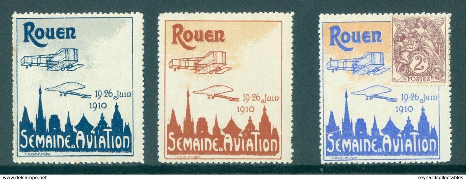 1910 France Rouen Grande Semaine D Aviation Illustrated Vignettes (3 Off) - Airmail