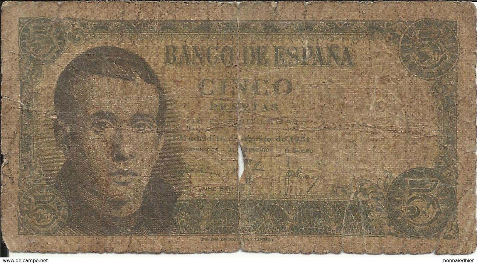 BANCO DE ESPANA , 5 Pesetas , 16.8.1951 , N° World Paper Money : 140 - 5 Pesetas
