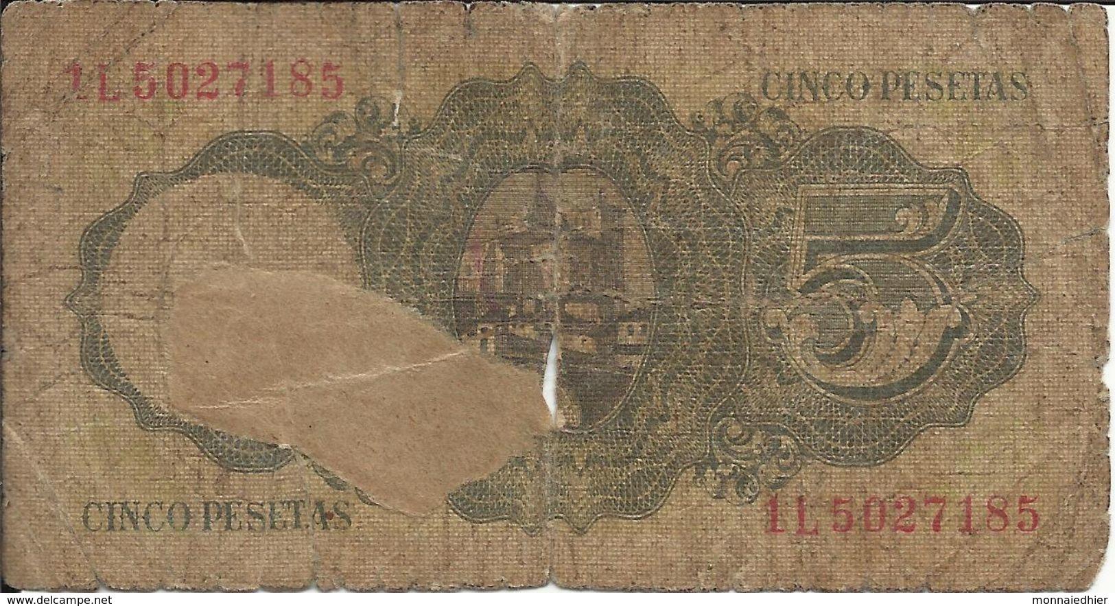 BANCO DE ESPANA , 5 Pesetas , 16.8.1951 , N° World Paper Money : 140 - [ 3] 1936-1975 : Régence De Franco