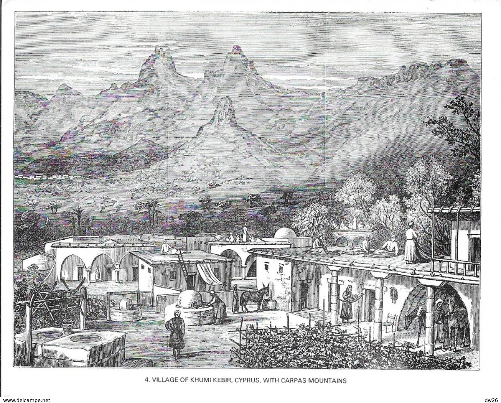 Chypre - Illustration, Dessin à La Plume: Village Of Khumi Kebir, Cyprus, With Carpas Mountains - Carte Non Circulée - Chypre
