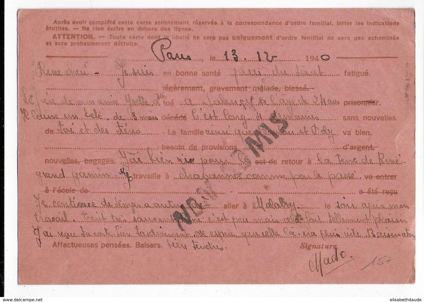 IRIS - 1940 - INADMIS (VOIR DOS) => RETOUR - CARTE ENTIER FAMILIALE INTERZONES De MONTROUGE => CHAVANNES (AIN) - Marcophilie (Lettres)