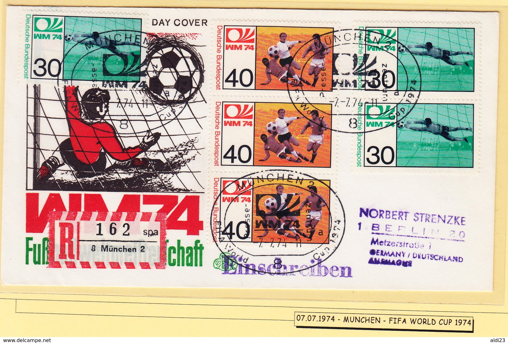 Beautiful Register Cover Of Football World Cup Germany 1974. Soccer Date Of Final Match! - Coppa Del Mondo