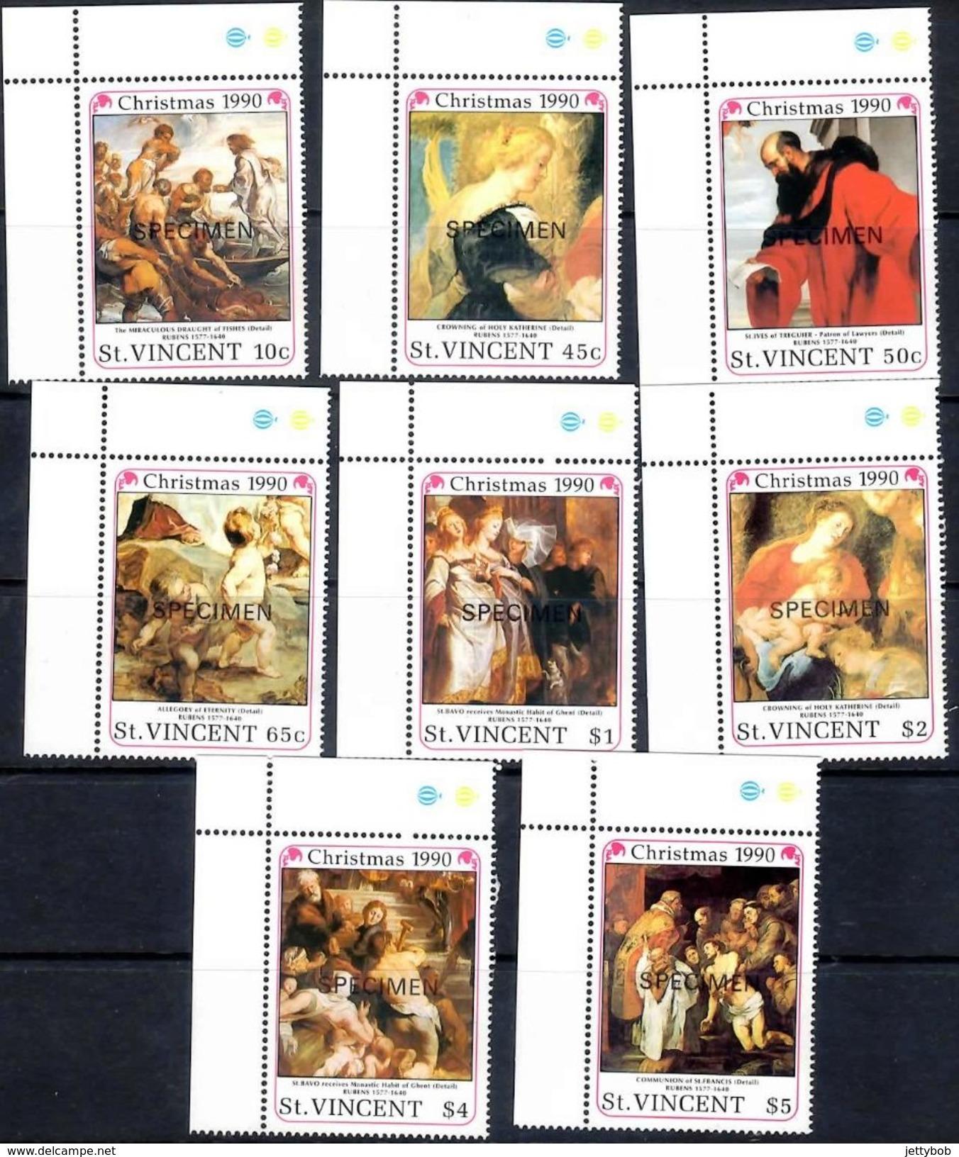 ST VINCENT 1990 Christmas Complete Set Of 8 Values Overprinted SPECIMEN Mint - St.Vincent (1979-...)