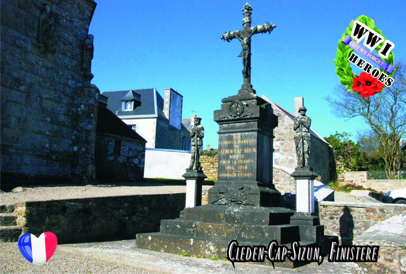 Carte Postale, Militaria, Monuments, World War I Monuments, France (Finistère), Cleden-Cap-Sizun - Monuments Aux Morts