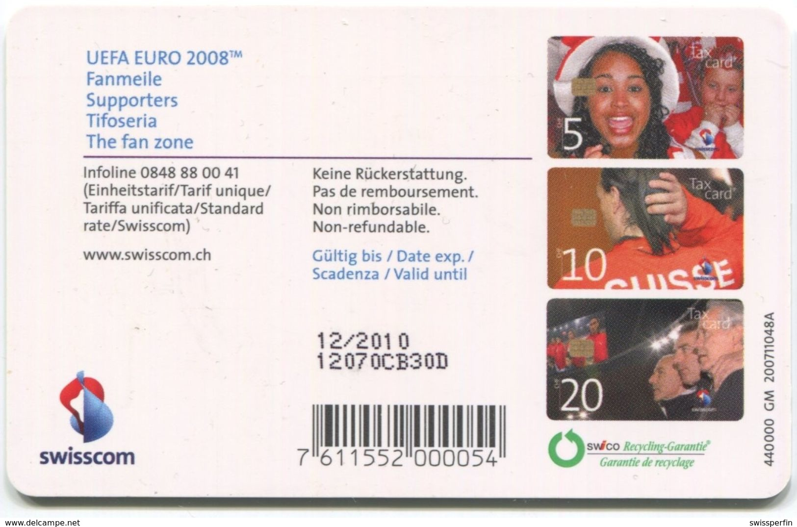 1740 - 5 CHF UEFA EURO 2008 - ABART Fleck - Gebrauchte Schalterkarte - Schweiz