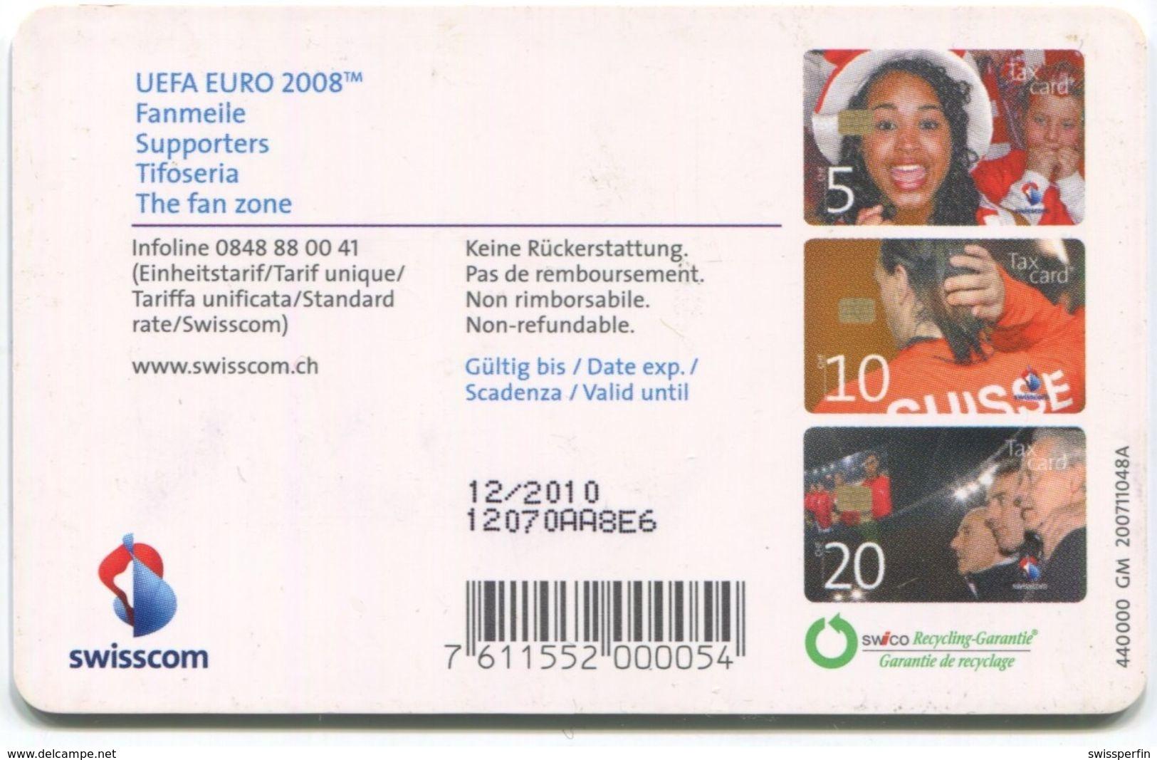 1741 - 5 CHF UEFA EURO 2008 - ABART Riesenfleck - Gebrauchte Schalterkarte - Suisse