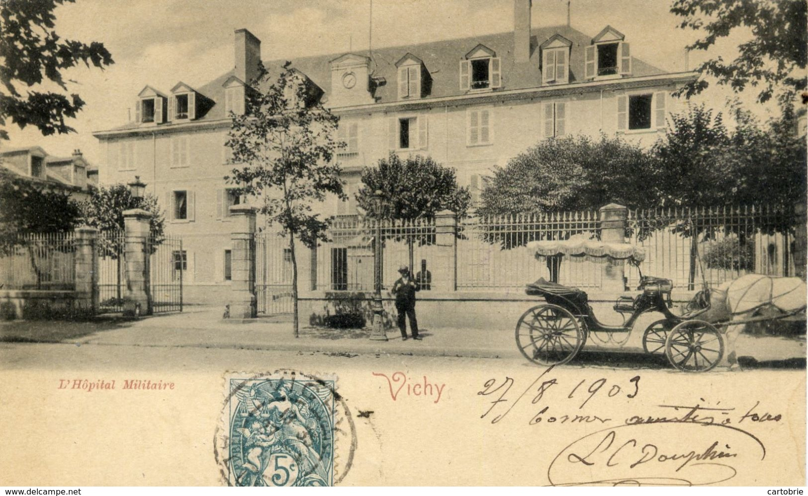 03 VICHY - L'Hôpital Militaire - Animée - Carte Précurseur - Vichy