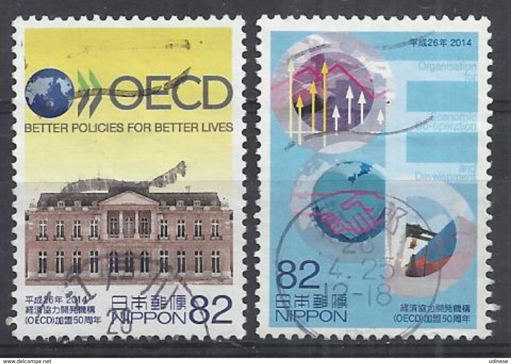 JAPAN 2014 - 50th ANNIVERSARY AS MEMBERSHIP OF THE OECD - CPL. SET - USED OBLITERE GESTEMPELT USADO - 1989-... Empereur Akihito (Ere Heisei)