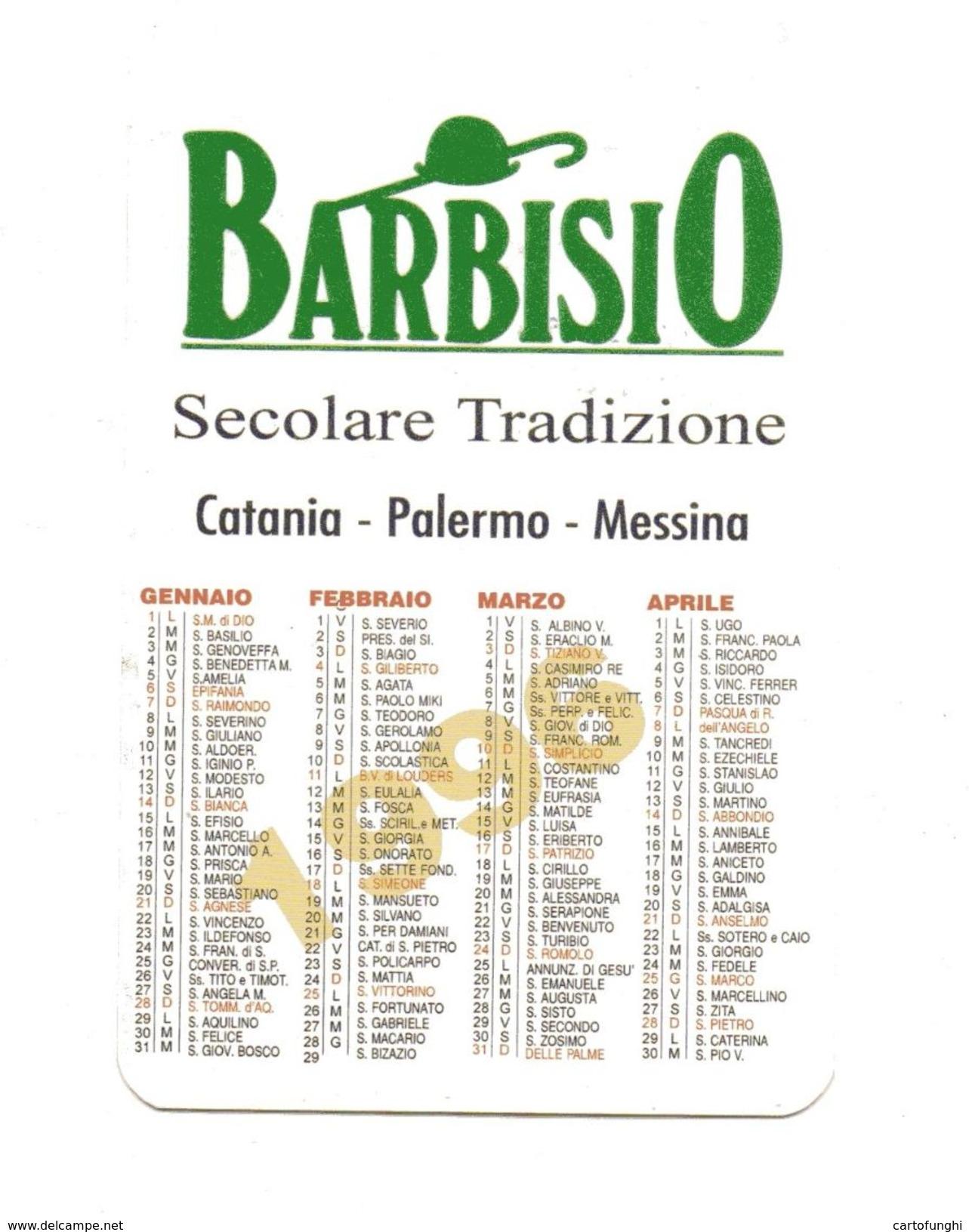 BARBISIO ABBIGLIAMENTO  CALENDARIETTO TASCABILE  1996 CAPPELLO BASTONE - Calendari