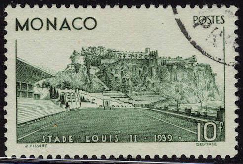 Oblitéré N° 184, 10f Stade Louis II, T.B. Signé A Brun - Stamps