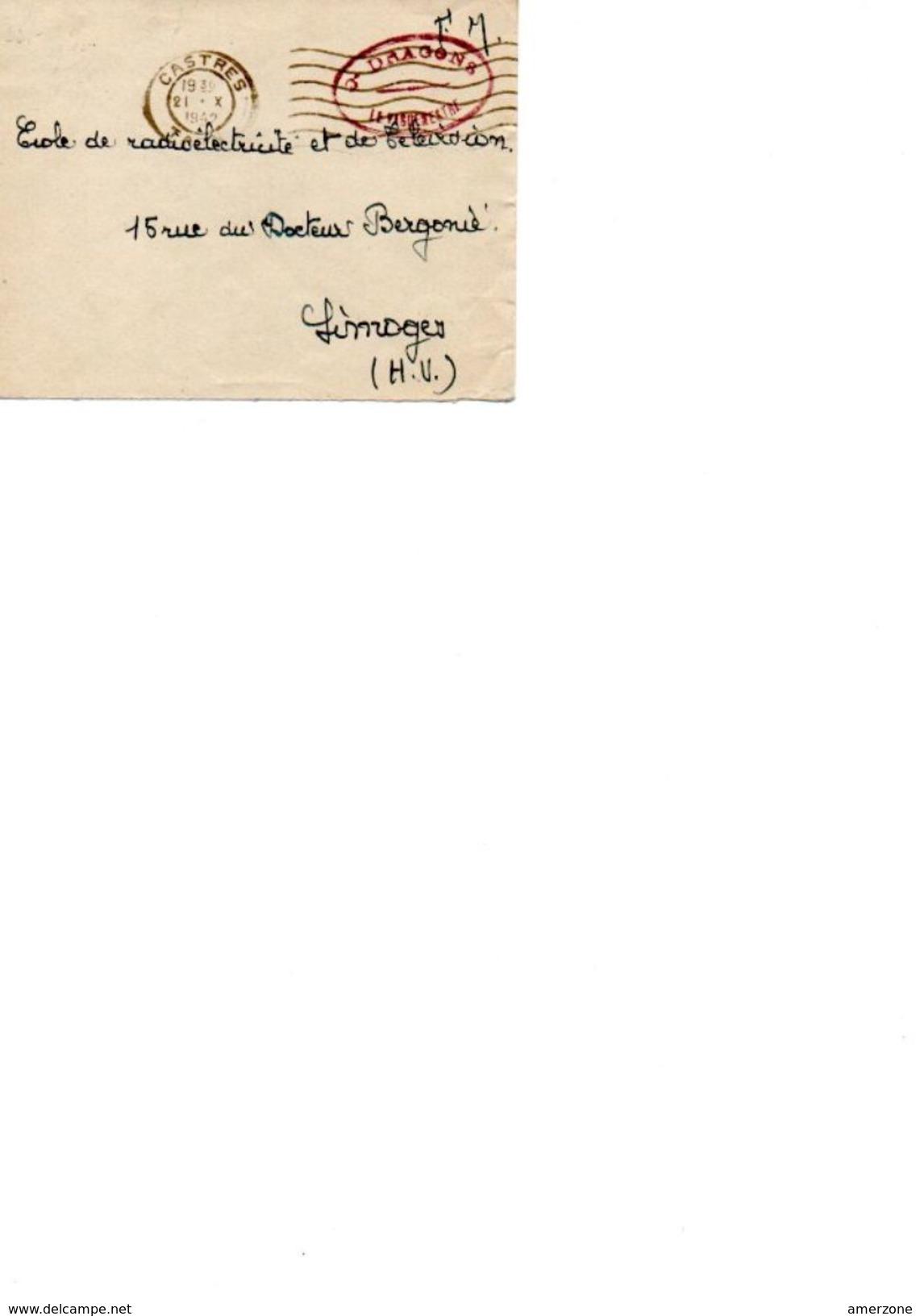 ENVELOPPE F.M. Du 21.10.1942 Avec Tampon Du Vageumestre Du 3éme Regiment De Dragons - Vieux Papiers