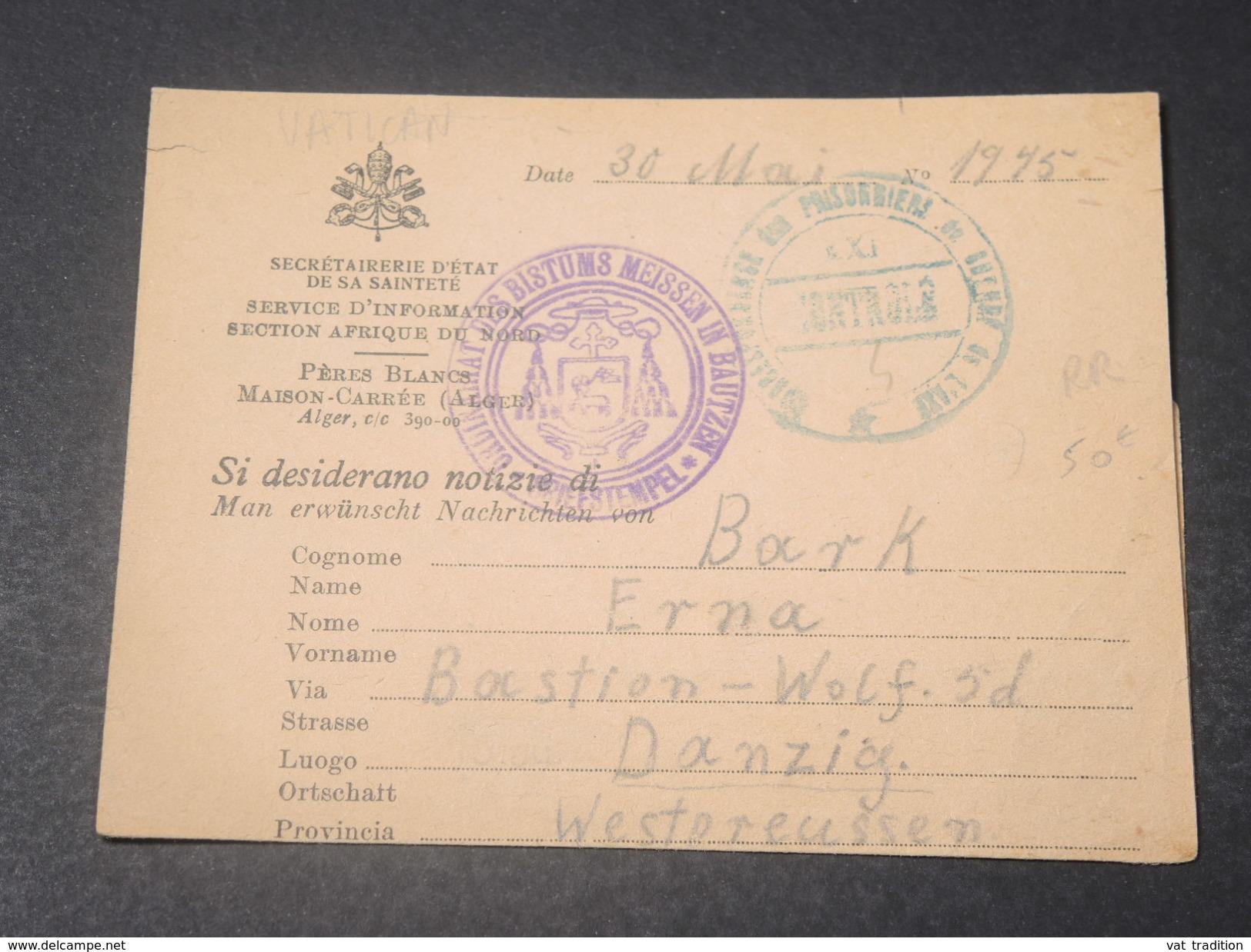 VATICAN - Formulaire De Renseignements Pour Prisonniers De Guerre à Dantzig En 1915 Avec Contrôle Postal  -  L 11538 - ...-1929 Préphilatélie