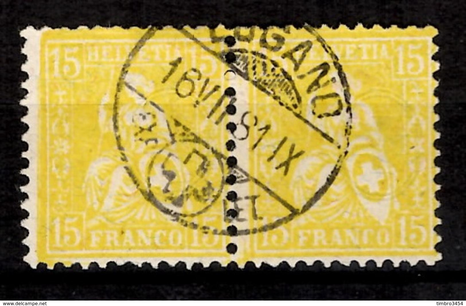 Suisse YT N° 52 En Paire Oblitérés. Signés. B/TB. A Saisir! - 1862-1881 Helvetia Assise (dentelés)