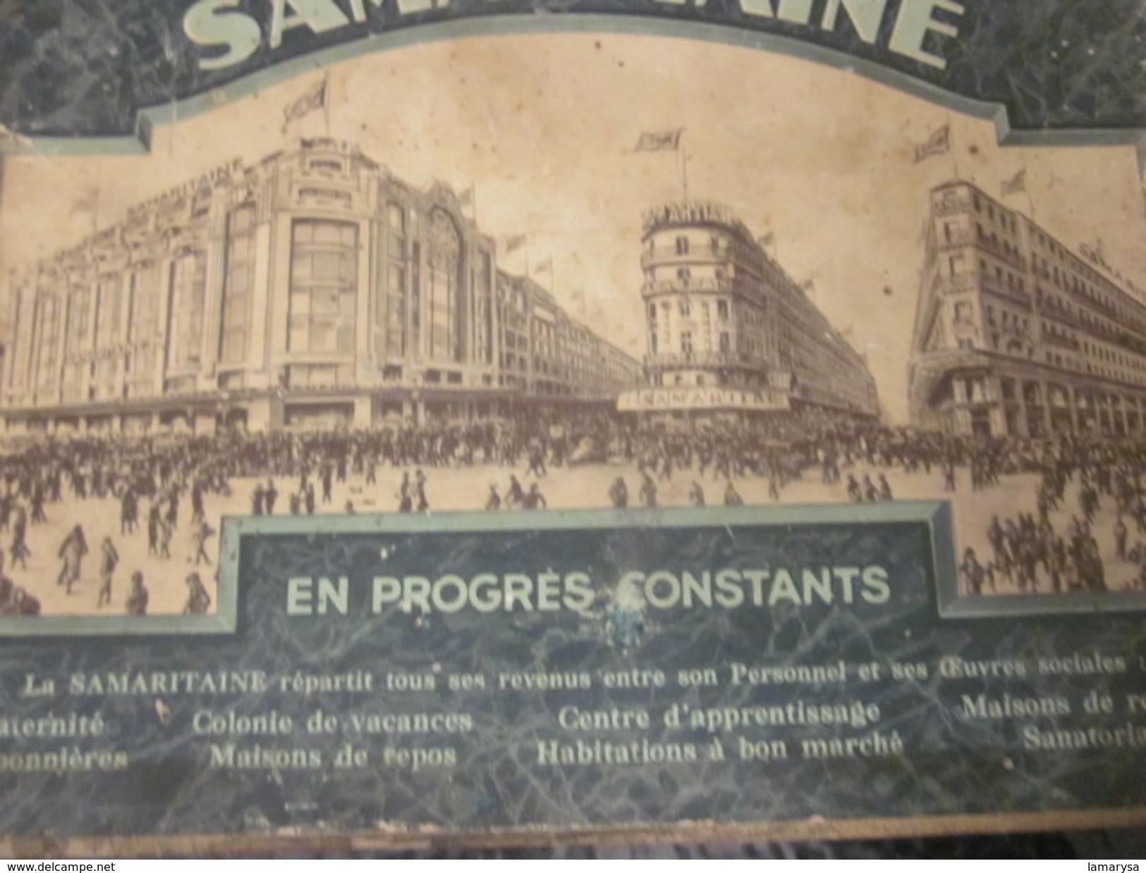 Publicité Originale RV Affichette Effigies 2 Créateurs & Magasin SAMARITAINE En 1889 Sur Support Plaque Carton D'époque - Plaques Publicitaires
