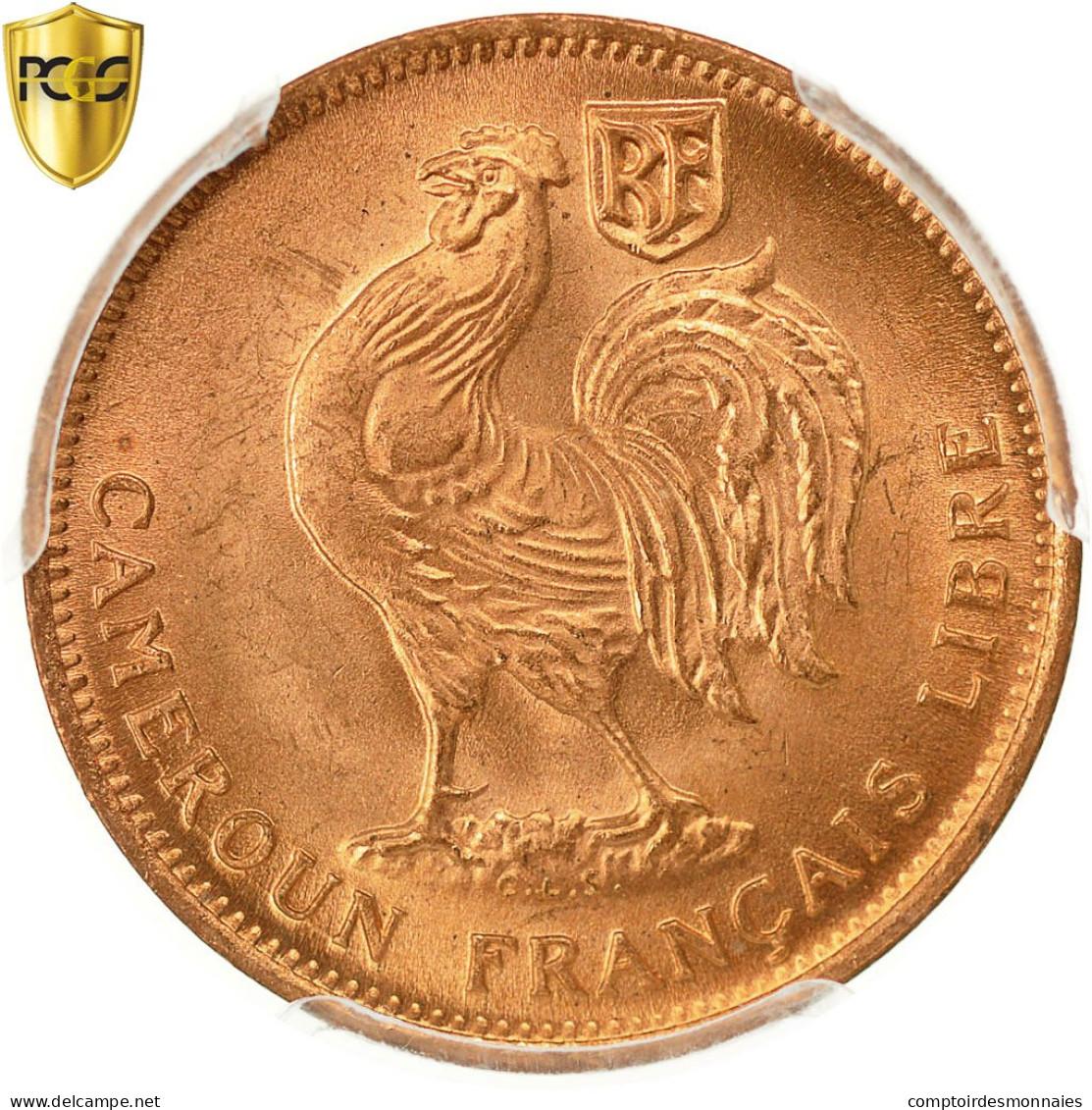 Monnaie, Cameroun, 50 Centimes, 1943, Pretoria, PCGS, MS66RD, FDC, Bronze, KM:6 - Cameroun