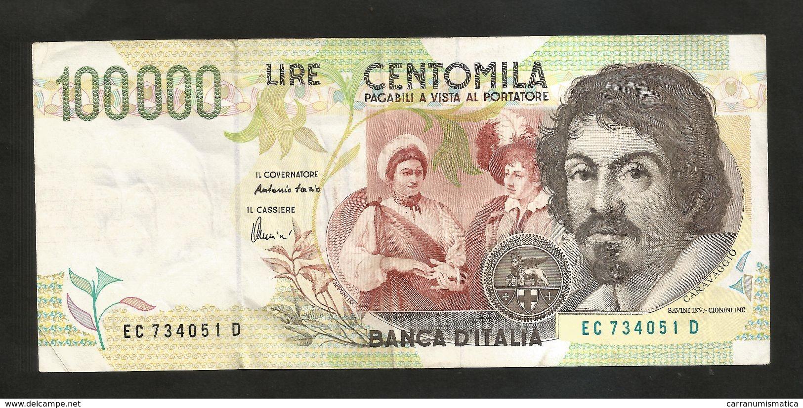 """ITALIA - BANCA D' ITALIA - 100000 Lire """"CARAVAGGIO"""" - II° Tipo (Firme: Fazio / Amici) - [ 2] 1946-… : Repubblica"""