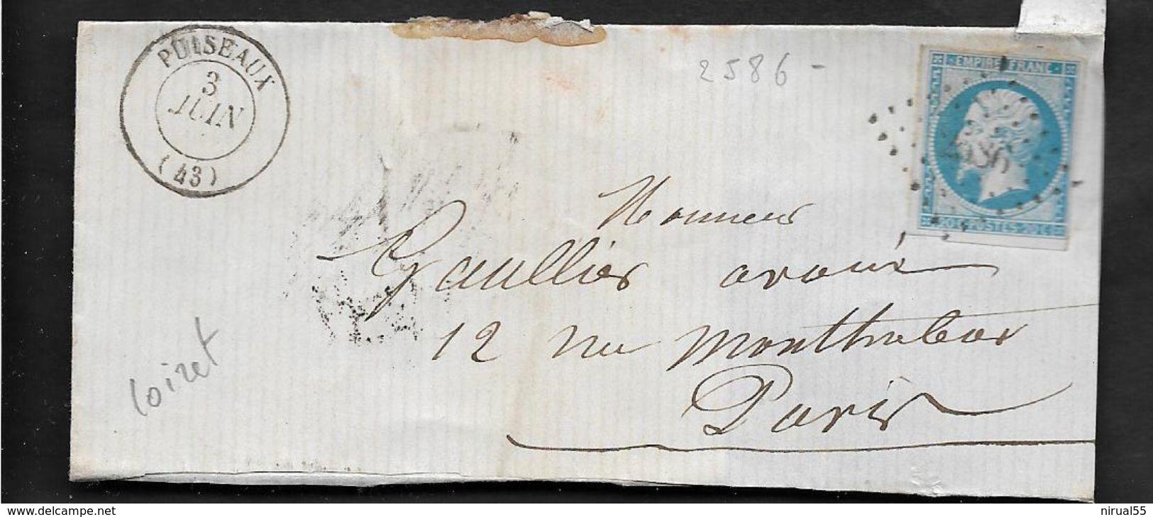 PUISEAUX Loiret CAD Type 15 Sans L'année 3.6.? + PC 2586 Sur 20c Empire . ...G - 1849-1876: Période Classique