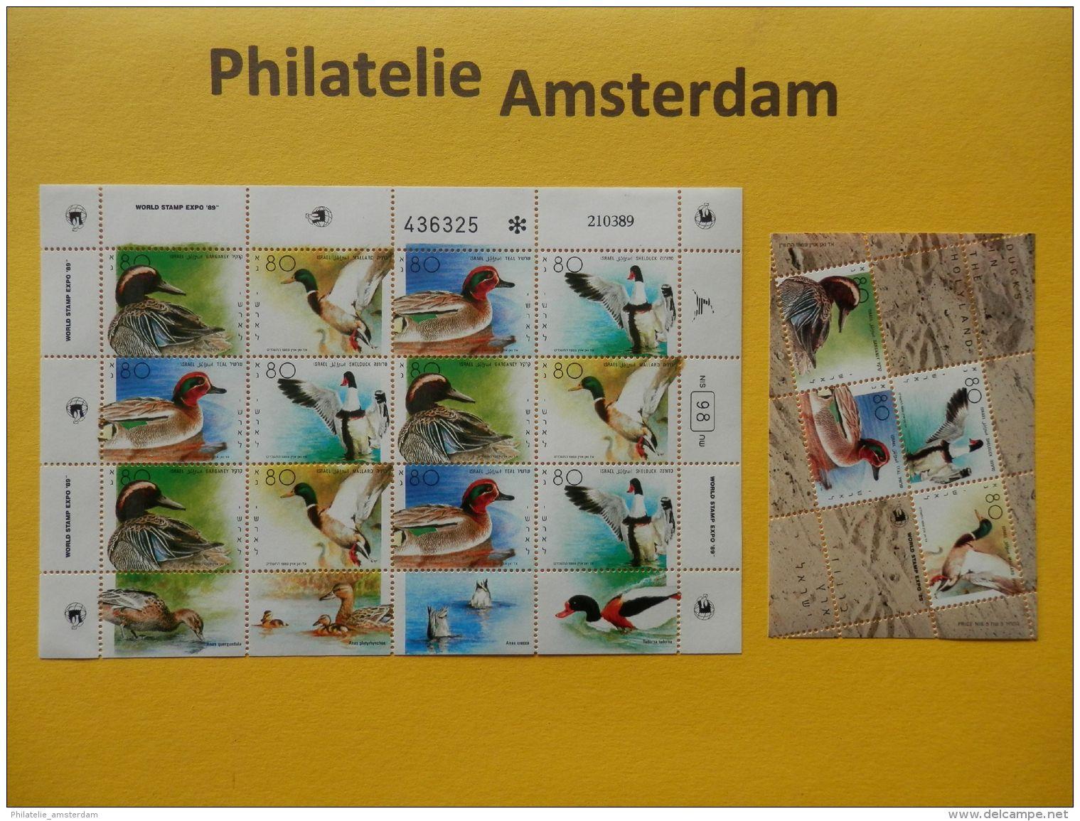 Israel 1989, BIRDS DUCKS: Mi 1131-34, + 1143-46, ** - KB - Vögel
