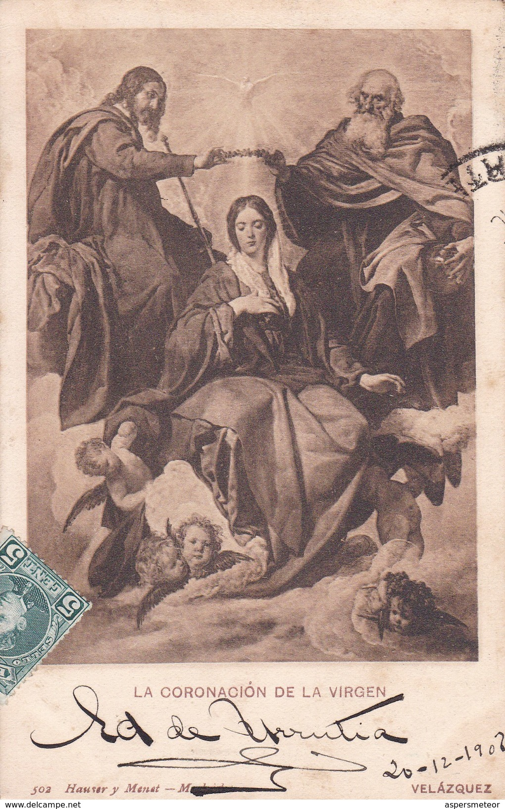 LA CONORACION DE LA VIRGEN, VELAZQUEZ. HAUSER Y MENET-CIRCULEE TO MONTEVIDEO-TBE-BLEUP - Peintures & Tableaux
