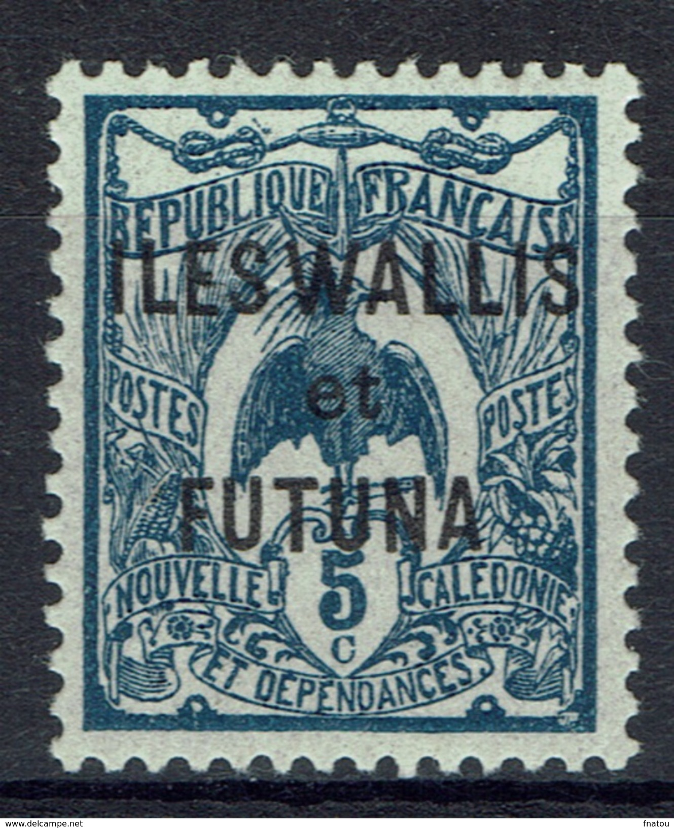 "Wallis And Futuna, Overprint ""ILES WALLIS ET FUTUNA"", 5c. Blue-grey, 1922, MH VF - Unused Stamps"