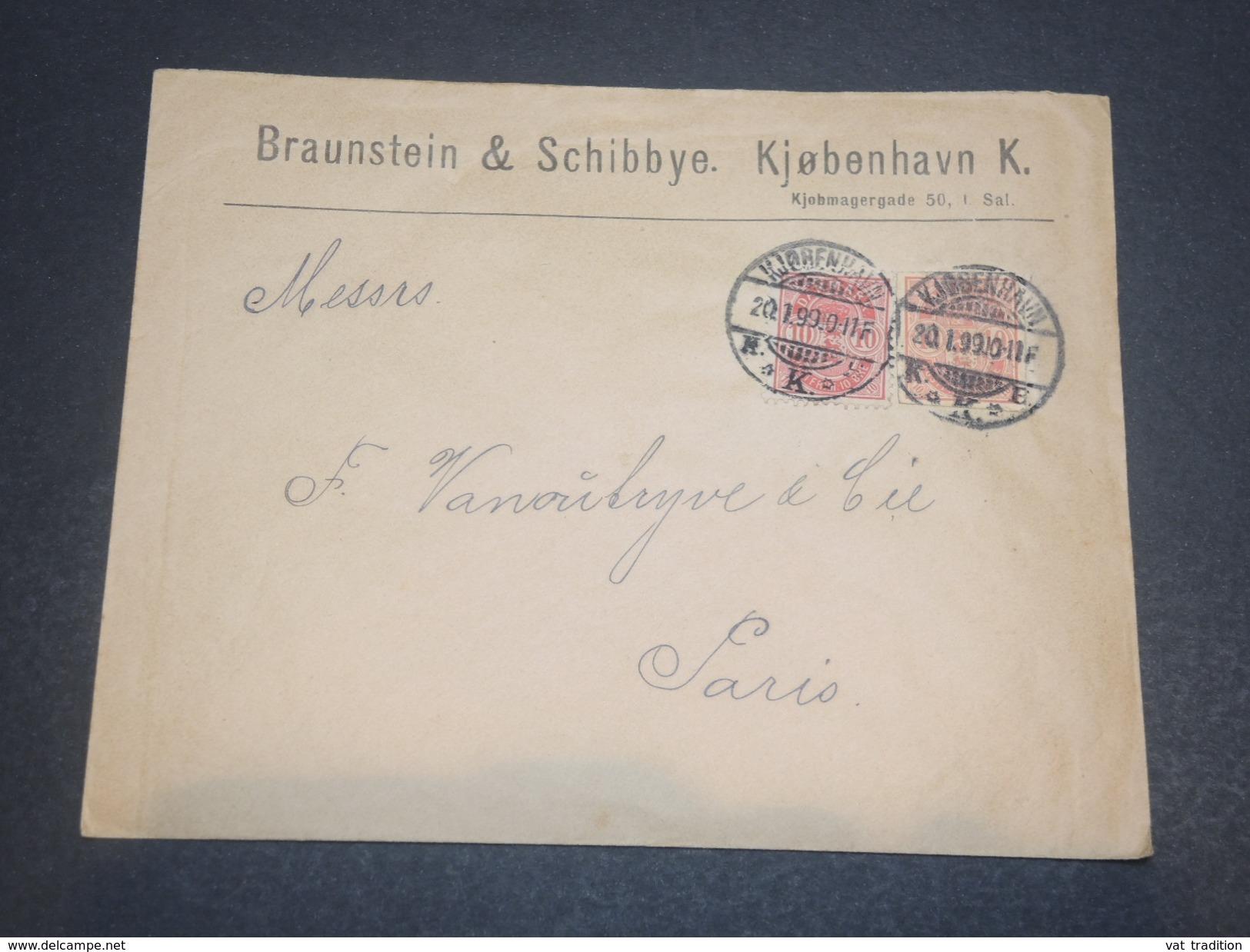 DANEMARK  - Enveloppe Commerciale Pour Paris En 1899, Affranchissement Plaisant - L 11694 - 1864-04 (Christian IX)