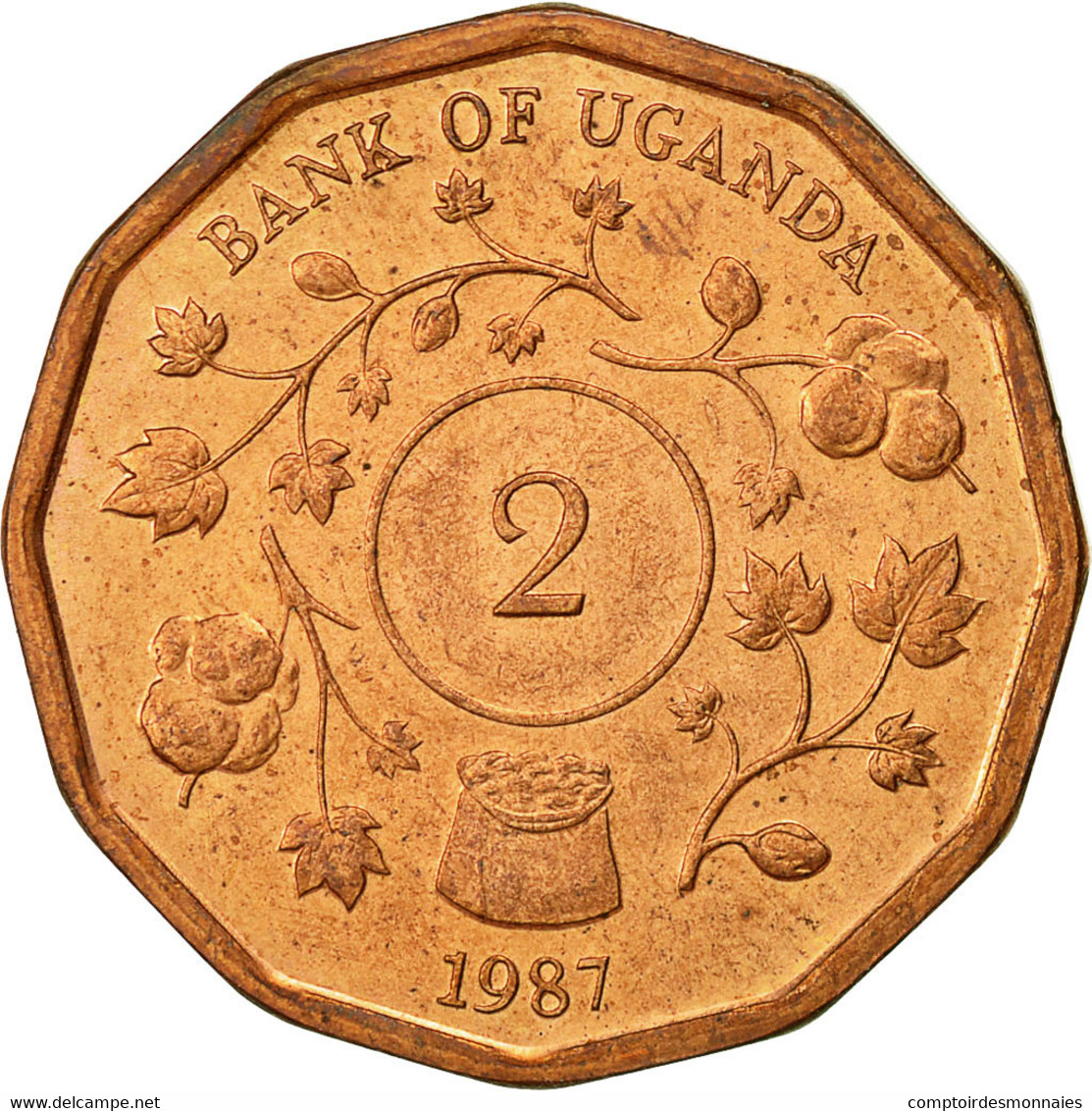 Uganda, 2 Shillings, 1987, TTB+, Copper Plated Steel, KM:28 - Ouganda