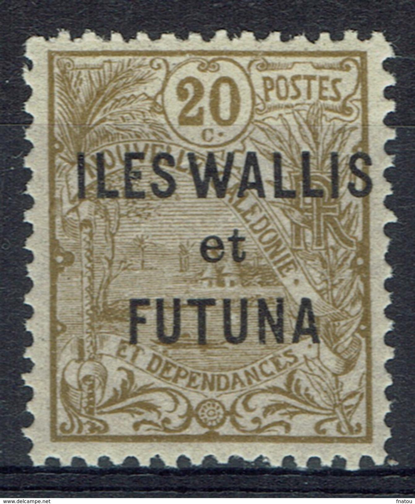 "Wallis And Futuna, Overprint ""ILES WALLIS ET FUTUNA"", 20c. 1920, MH VF - Unused Stamps"