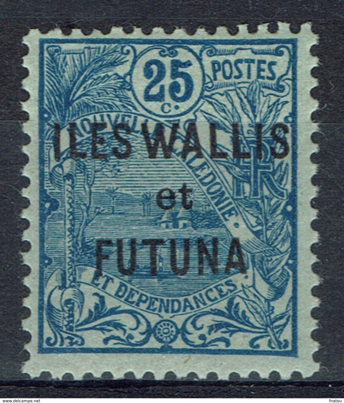 "Wallis And Futuna, Overprint ""ILES WALLIS ET FUTUNA"", 25c., Blue, 1920, MH VF - Unused Stamps"
