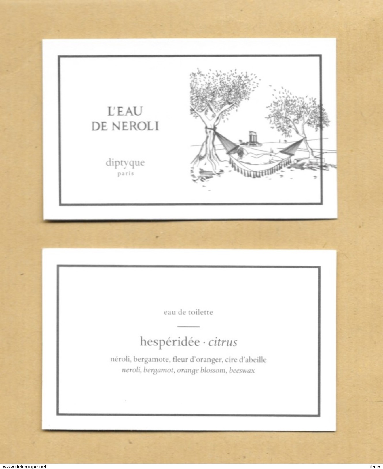 Nouvelle Carte De La Série *** Carte Parfumée Perfume Card EAU DE NEROLI * DIPTYQUE * R/V - Cartes Parfumées