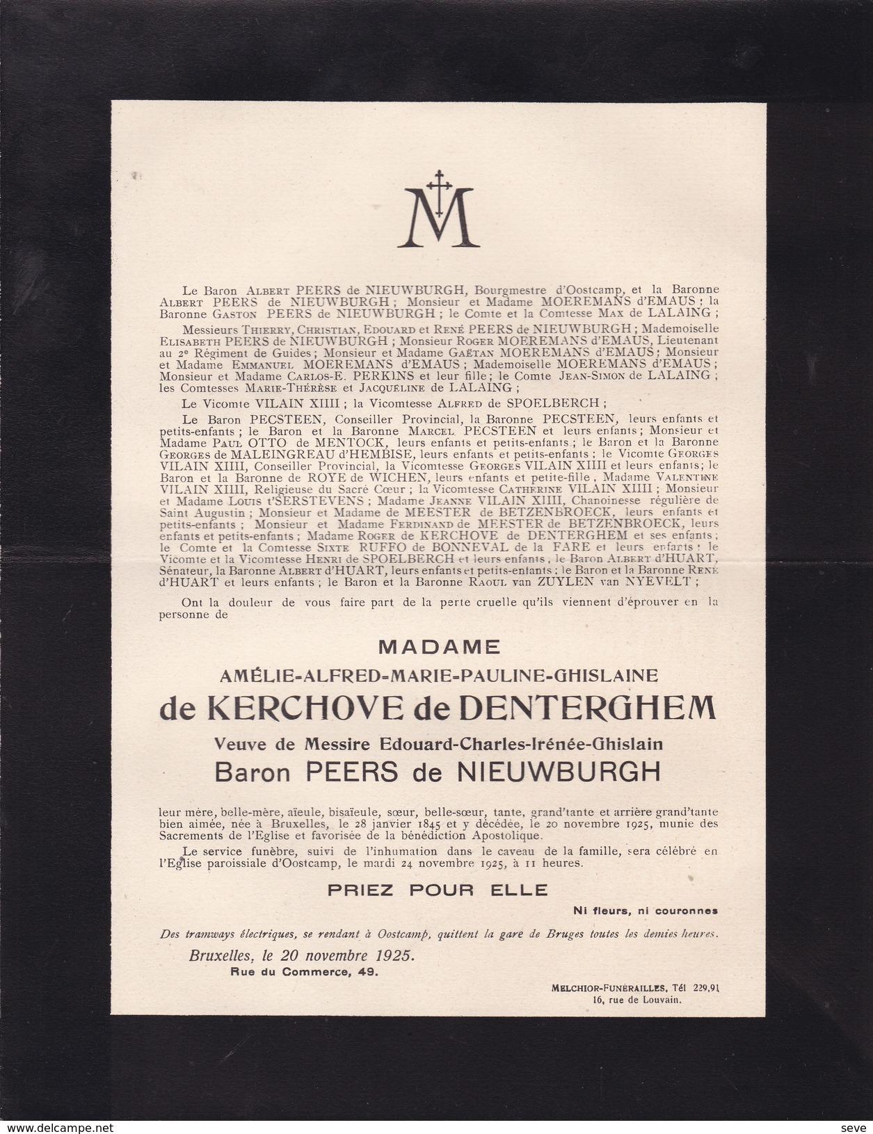 OOSTKAMP Amélie De KERCHOVE De DENTERGHEM Veuve PEERS De NIEUWBURGH 1845-1925 - Overlijden