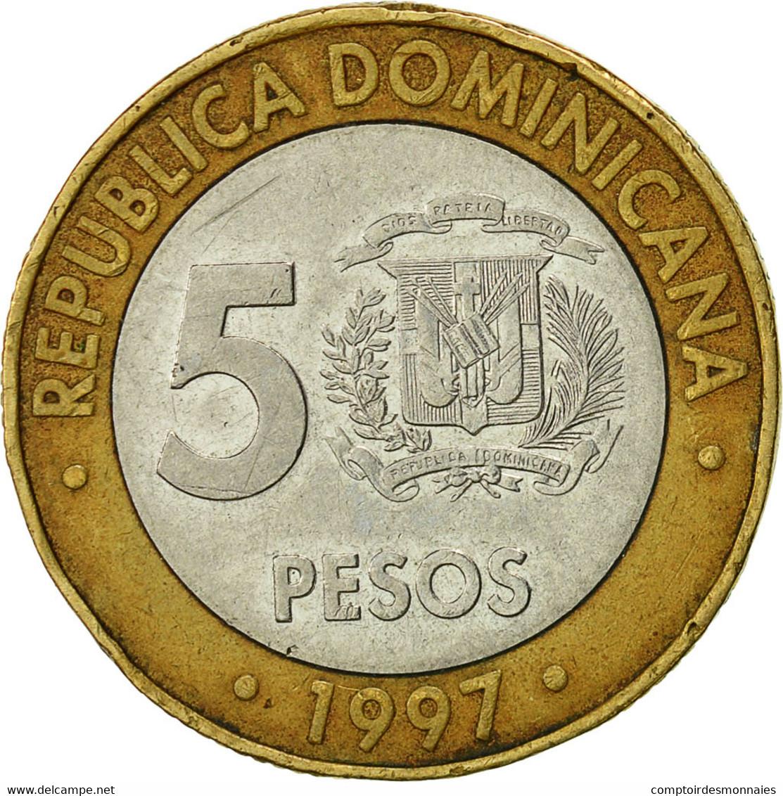 Dominican Republic, 5 Pesos, 1997, TB, Bi-Metallic, KM:88 - Dominicana