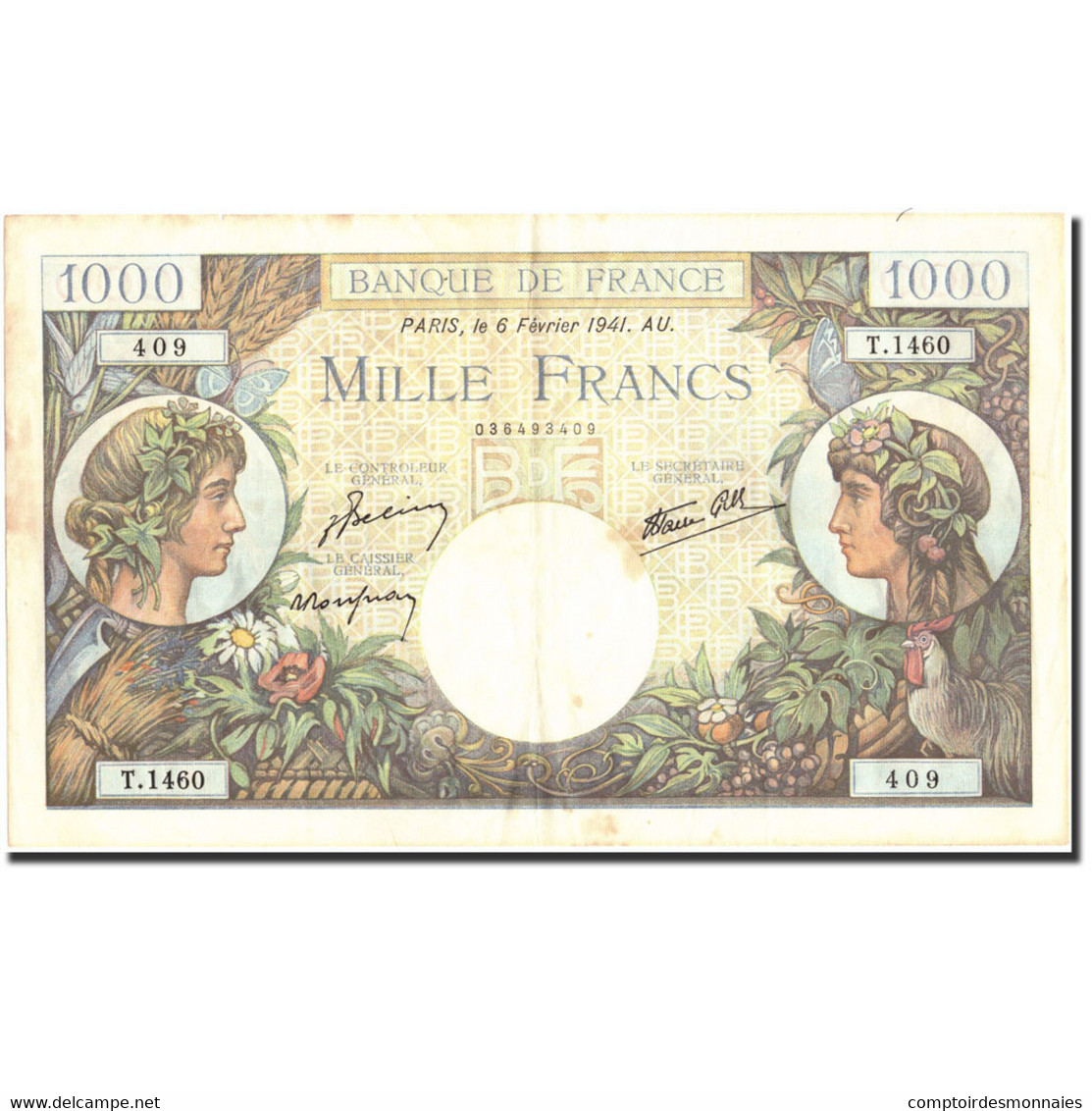 France, 1000 Francs, 1 000 F 1940-1944 ''Commerce Et Industrie'', 1941 - 1871-1952 Circulated During XXth