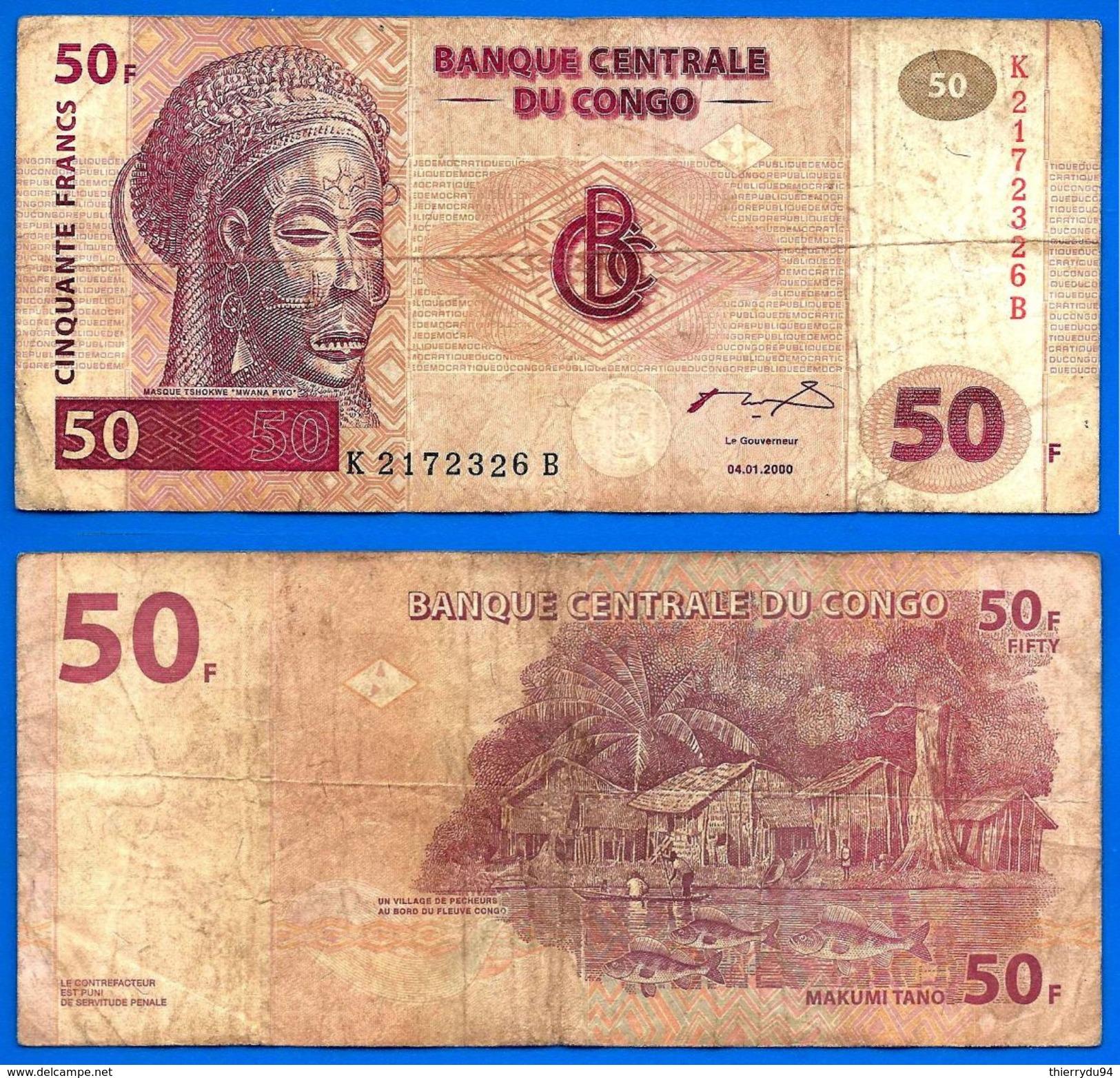 Congo 50 Francs 2000 Prefix K Masque Village Pecheur Paypal Skrill Bitcoin OK - Congo
