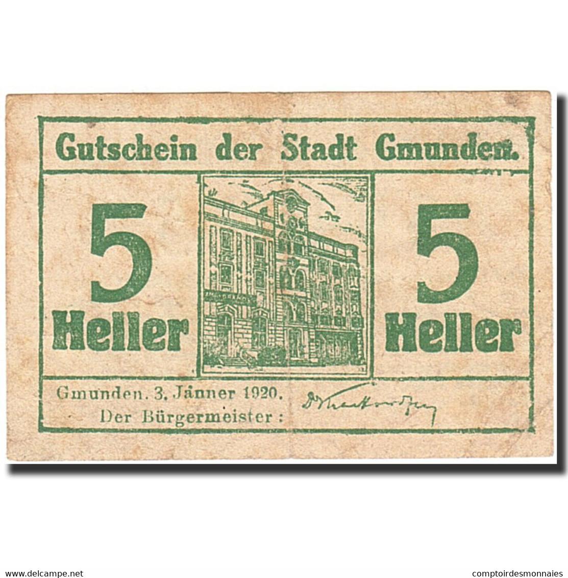 Billet, Autriche, Gmunden, 5 Heller, Batiment, 1920, 1920-01-03, Vert, B+ - Autriche