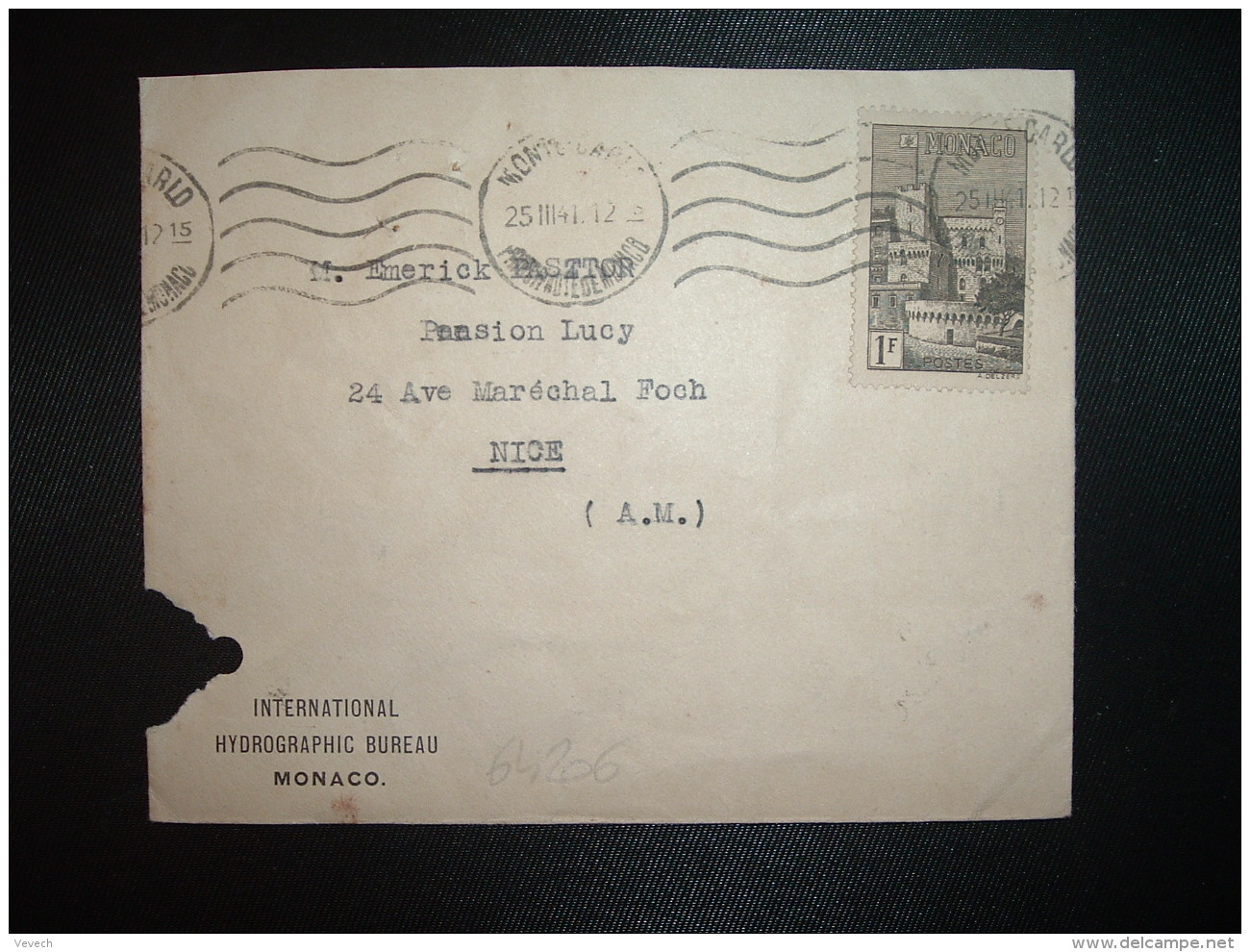 LETTRE TP 1F OBL.MEC.25 III 41 MONTE-CARLO PRINCIPAUTE DE MONACO + INTERNATIONAL HYDROGRAPHIC BUREAU - Covers & Documents