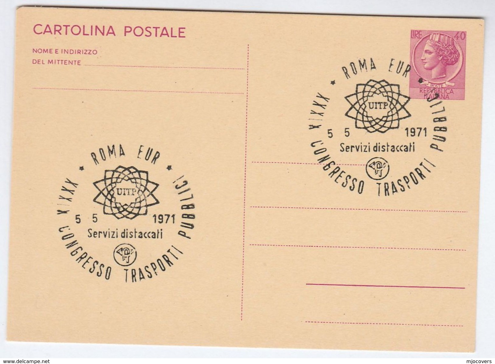 1971 Rome PUBLIC TRANSPORT CONGRESS UITP EVENT COVER Postal Stationery Card Italy Stamps - Bussen